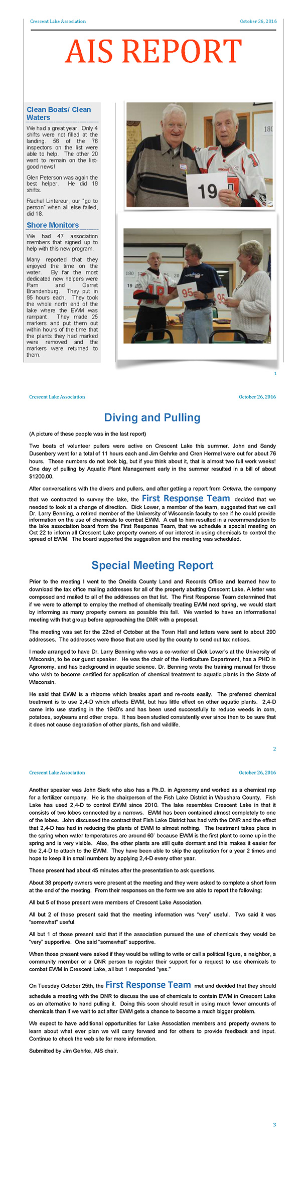2016 Oct AIS Report